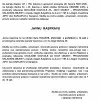 """Poziv na javnu raspravu - okolišna dozvola za proizvodno-skladišni objekt poduzeća """"BFS"""""""