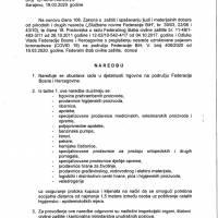 Naredba Federalnog stožera Civilne zaštite o obustavi rada u djelatnosti trgovine