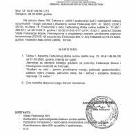 Federalni stožer Civilne zaštite: Naredba o zabrani kretanja od 20 do 5 sati